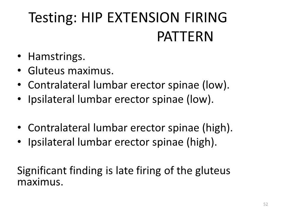 Testing: HIP EXTENSION FIRING PATTERN