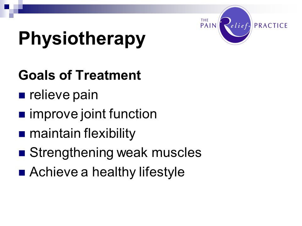 Physiotherapy Goals of Treatment relieve pain improve joint function