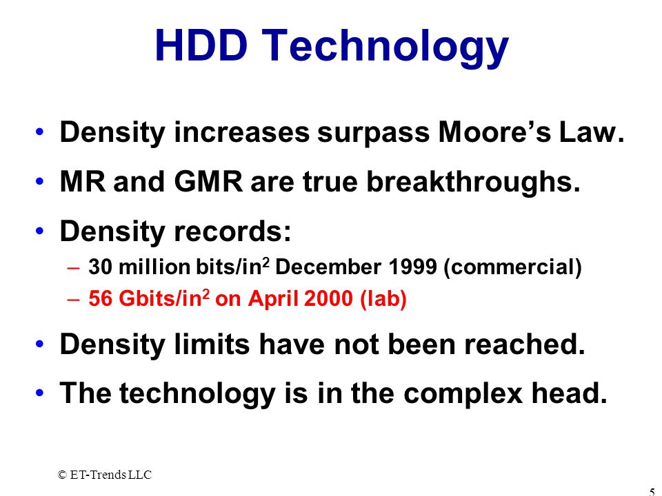 HDD Technology Density increases surpass Moore's Law.