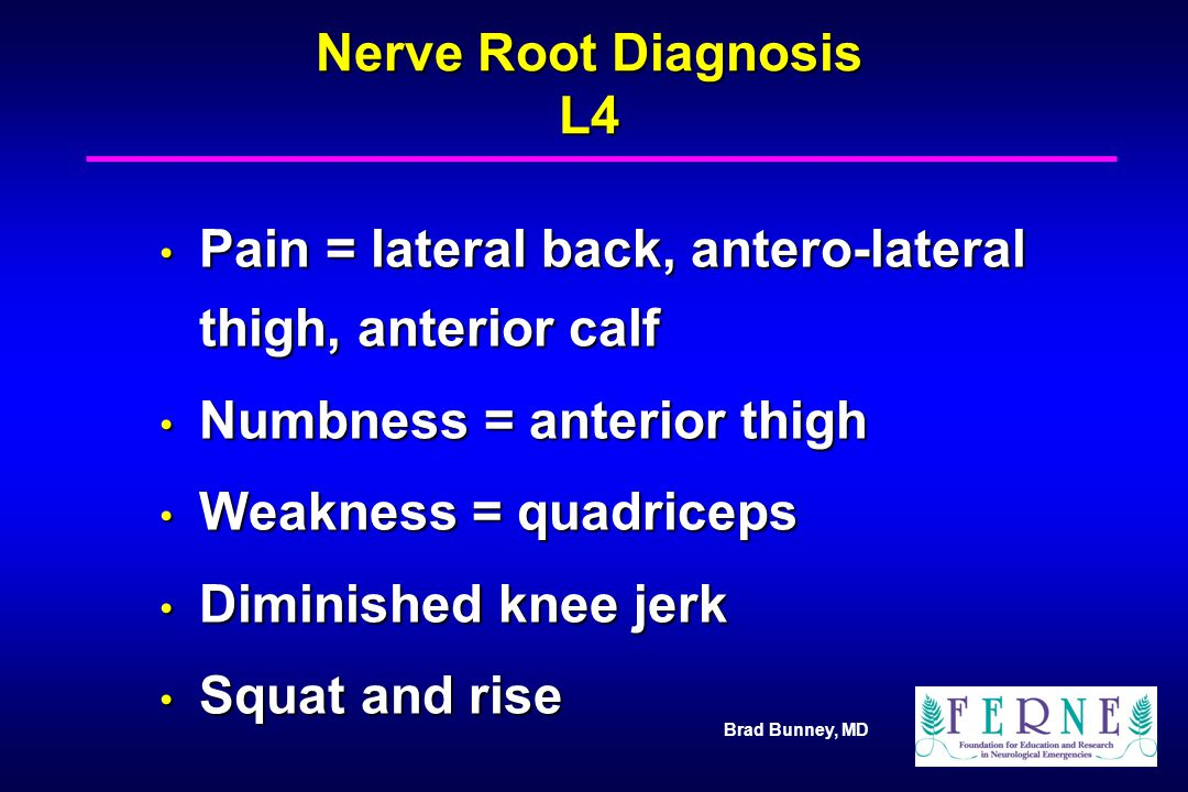 Pain = lateral back, antero-lateral thigh, anterior calf