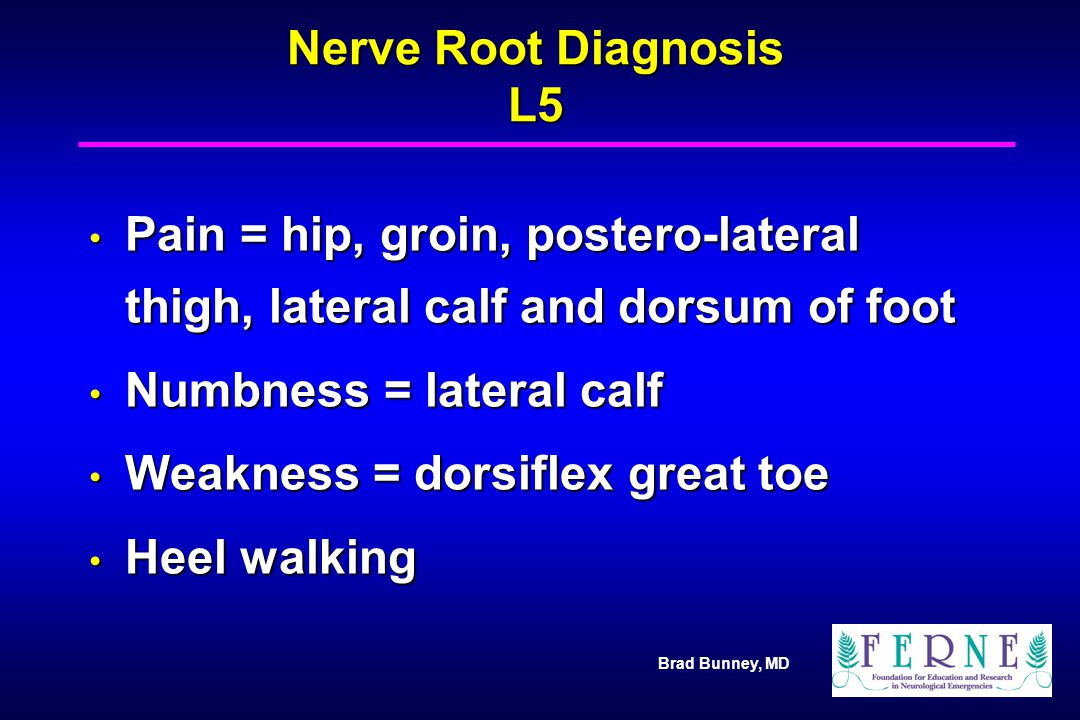 Numbness = lateral calf Weakness = dorsiflex great toe Heel walking