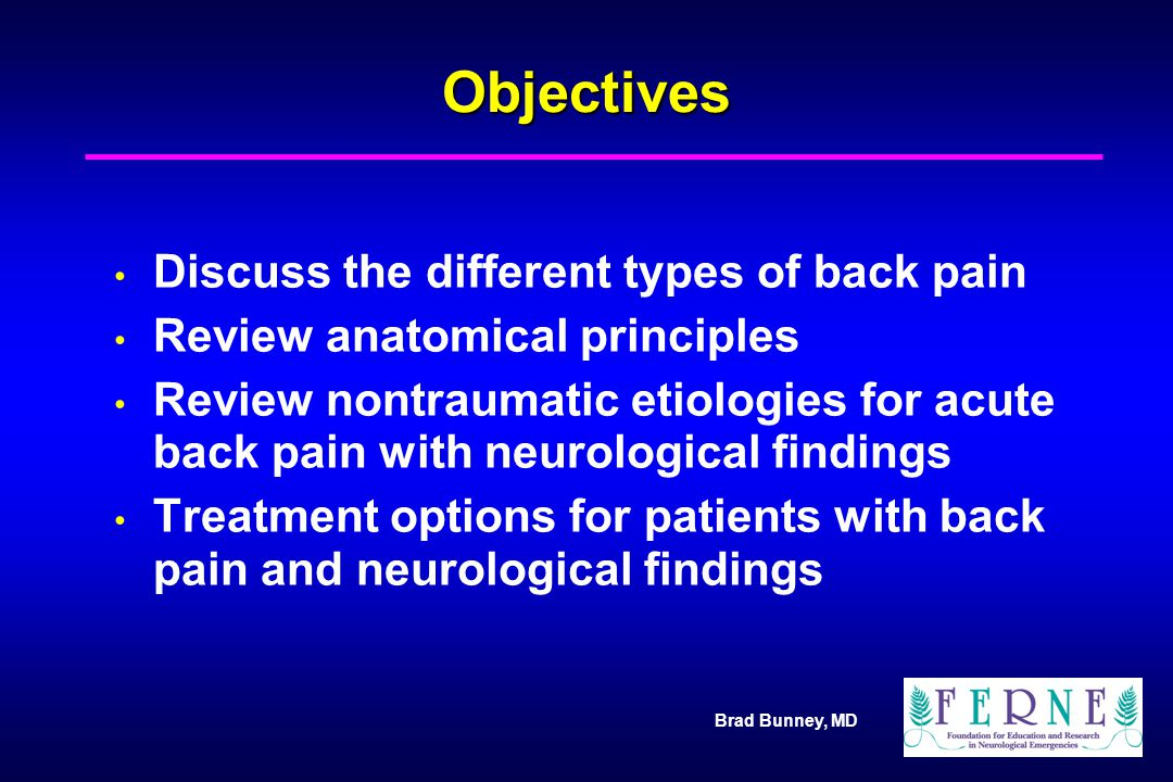 Objectives Discuss the different types of back pain