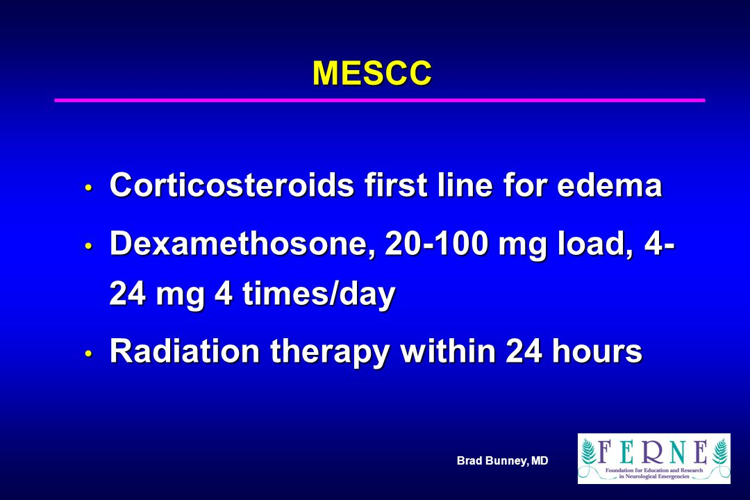 Corticosteroids first line for edema