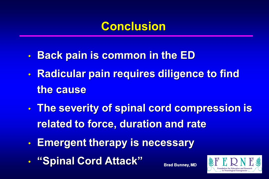 Conclusion Back pain is common in the ED