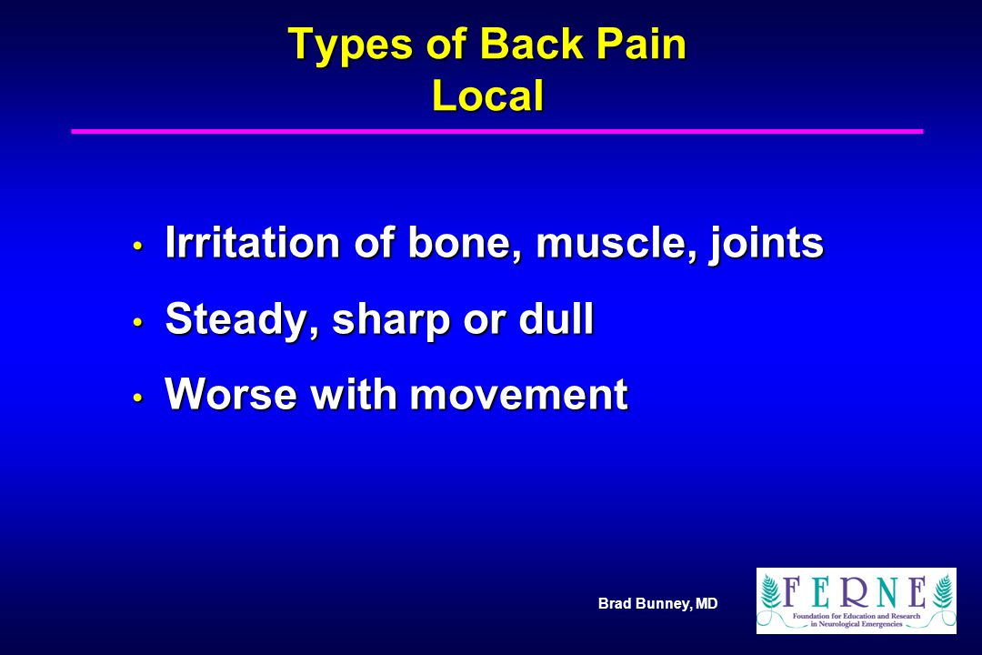 Types of Back Pain Local