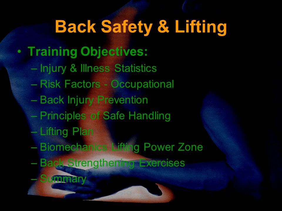 Back Safety & Lifting Training Objectives: Injury & Illness Statistics