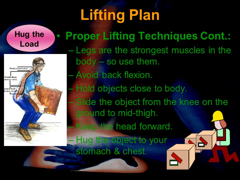Lifting Plan Proper Lifting Techniques Cont.: