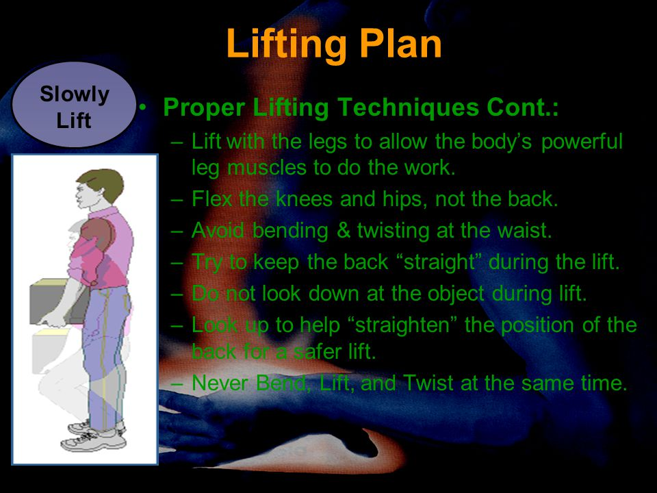 Lifting Plan Proper Lifting Techniques Cont.: Slowly Lift