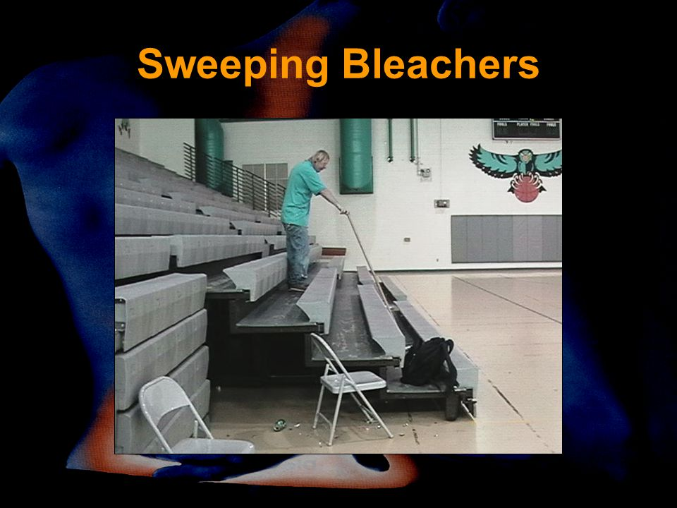 Sweeping Bleachers Look how far he has to extend his shoulder to reach this level. What would make more sense