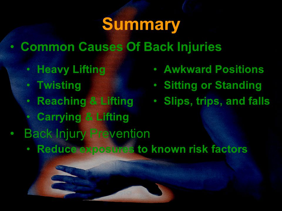 Summary Common Causes Of Back Injuries Back Injury Prevention