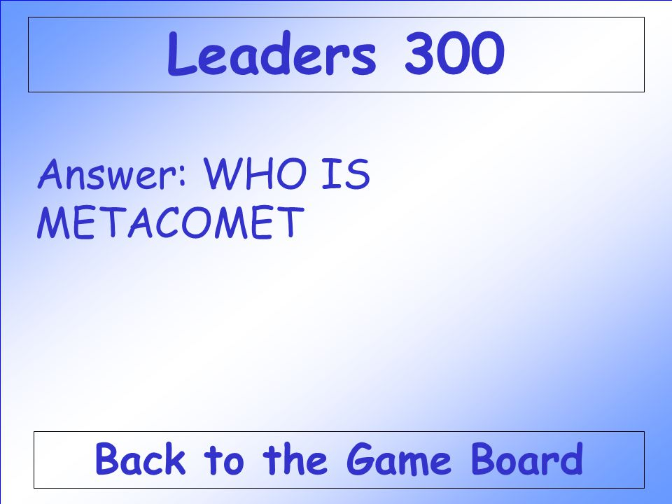 Leaders 300 Answer: WHO IS METACOMET Back to the Game Board