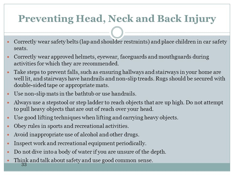 Preventing Head, Neck and Back Injury