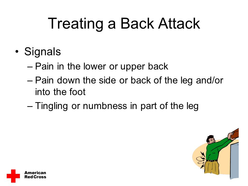 Treating a Back Attack Signals Pain in the lower or upper back
