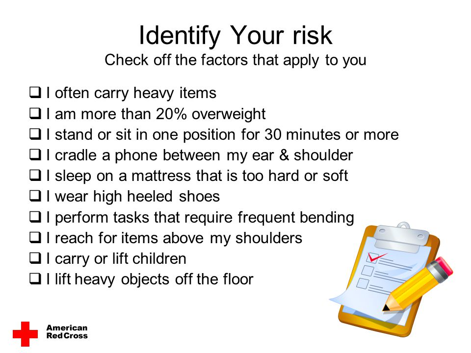Identify Your risk Check off the factors that apply to you