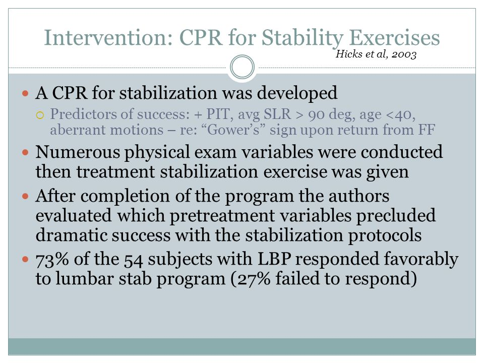 Intervention: CPR for Stability Exercises