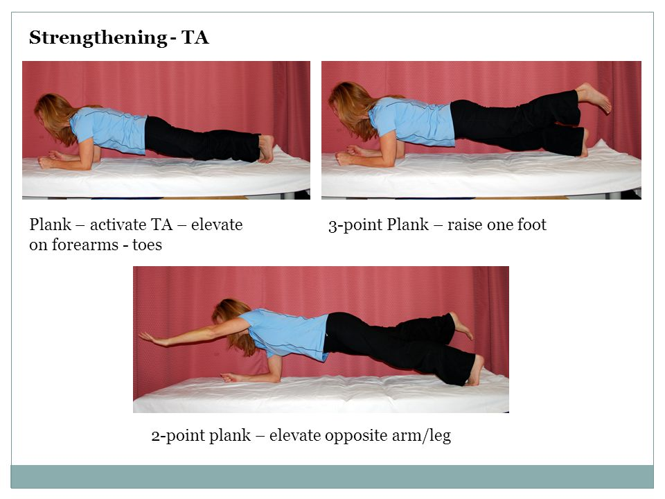 Strengthening - TA Plank – activate TA – elevate on forearms - toes