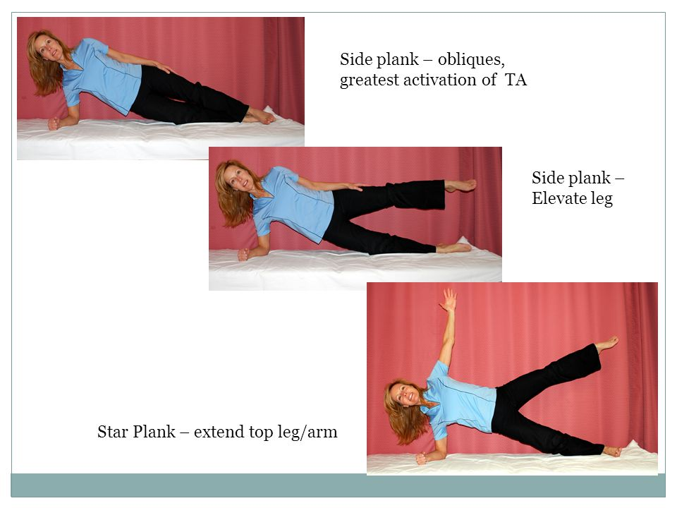 Side plank – obliques, greatest activation of TA.