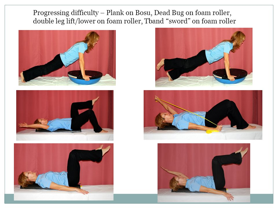 Progressing difficulty – Plank on Bosu, Dead Bug on foam roller, double leg lift/lower on foam roller, Tband sword on foam roller