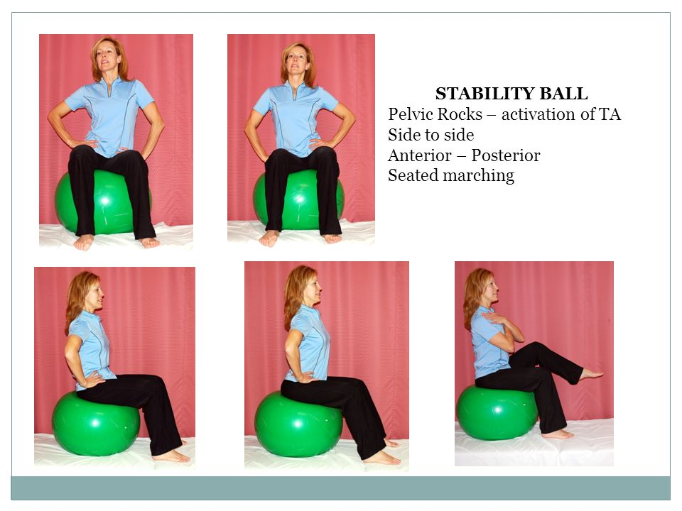 STABILITY BALL Pelvic Rocks – activation of TA Side to side Anterior – Posterior Seated marching