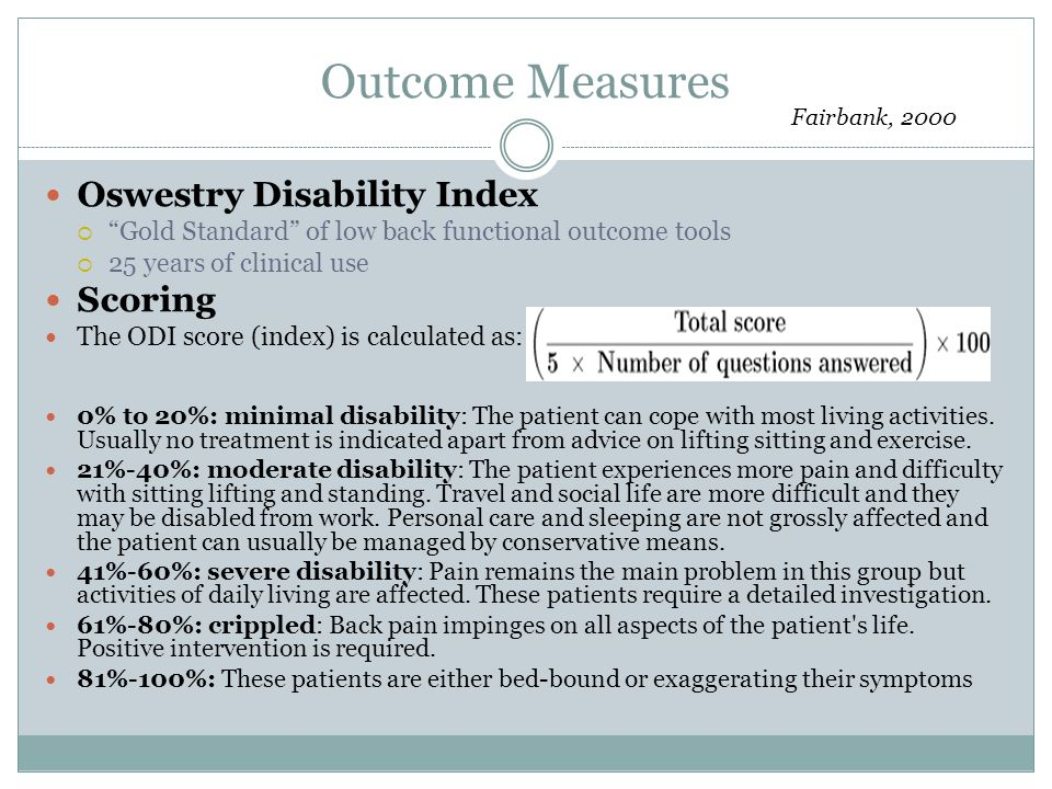 Outcome Measures Oswestry Disability Index Scoring