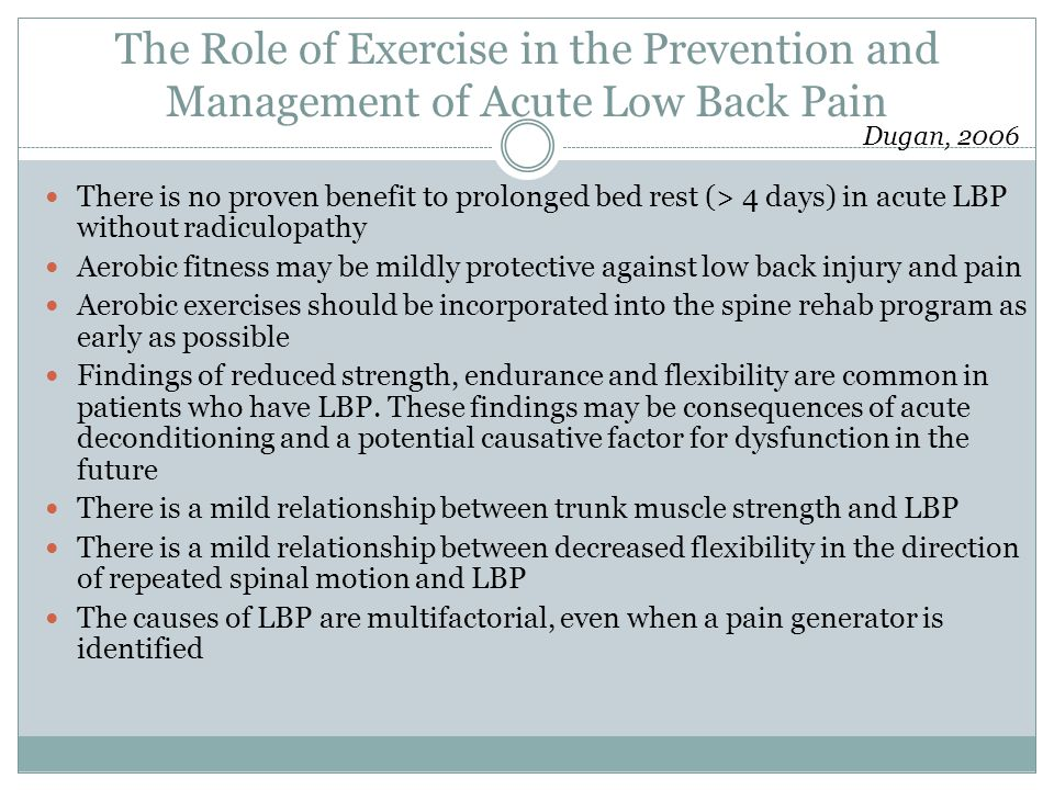 The Role of Exercise in the Prevention and Management of Acute Low Back Pain