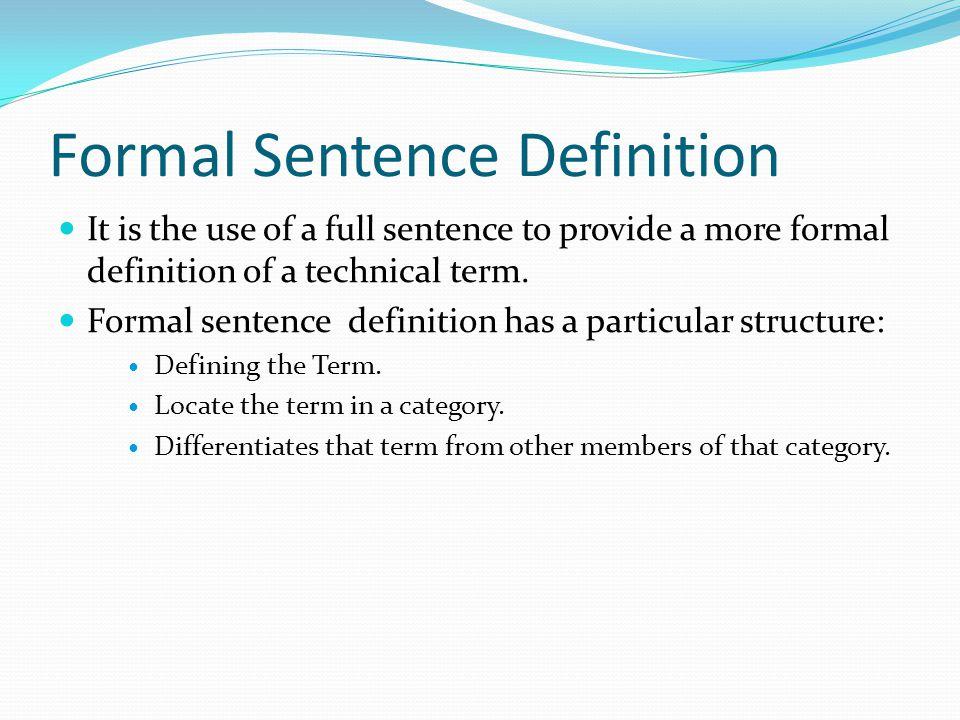 Formal Sentence Definition