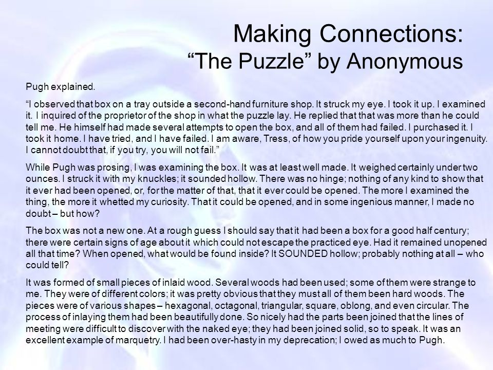 Making Connections: The Puzzle by Anonymous