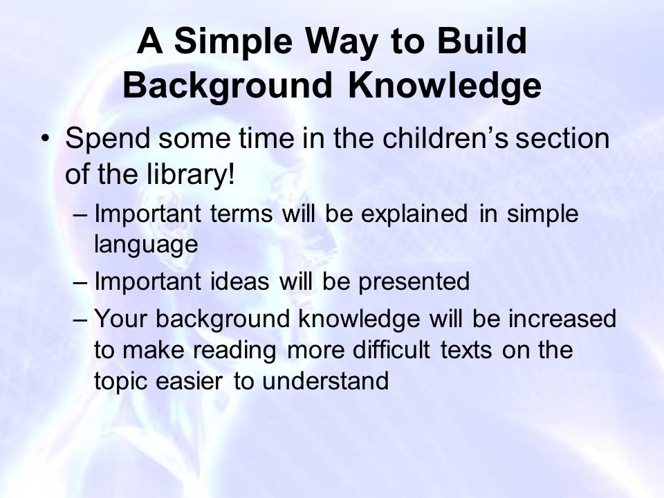 A Simple Way to Build Background Knowledge