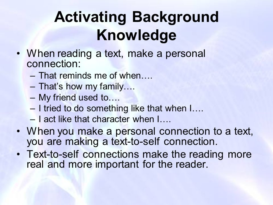 Activating Background Knowledge