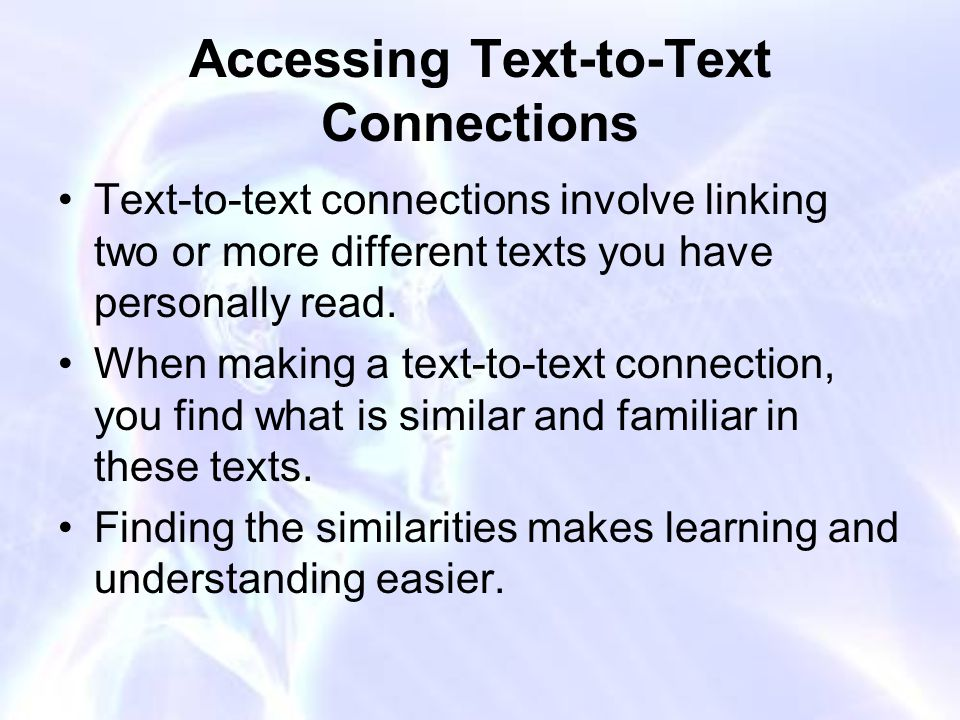 Accessing Text-to-Text Connections