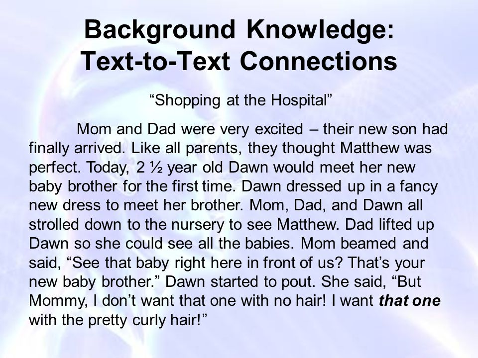 Background Knowledge: Text-to-Text Connections