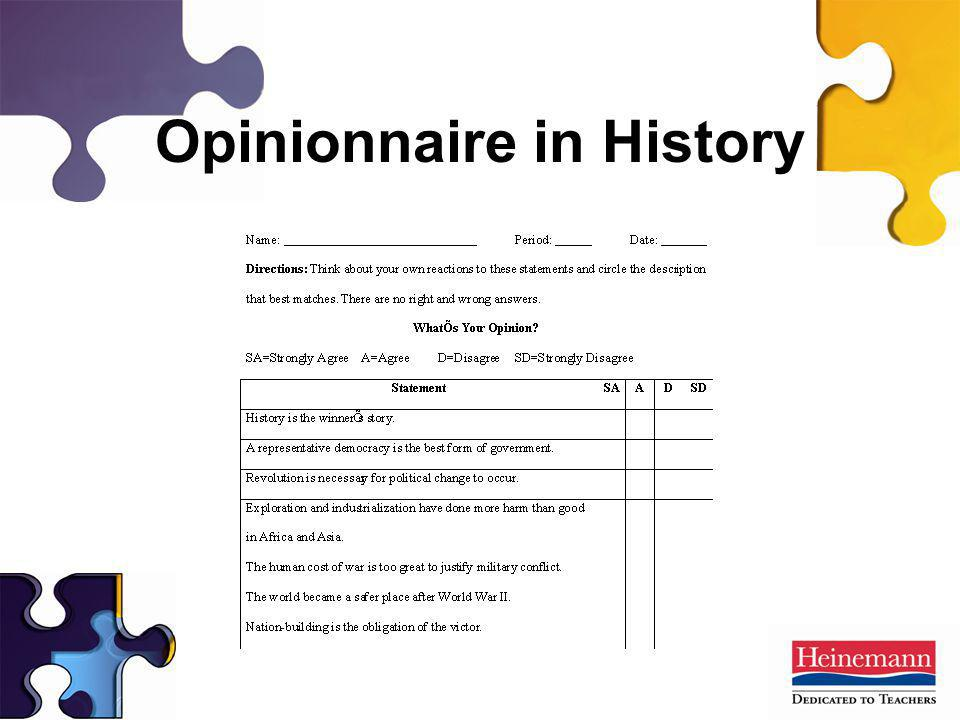 Opinionnaire in History