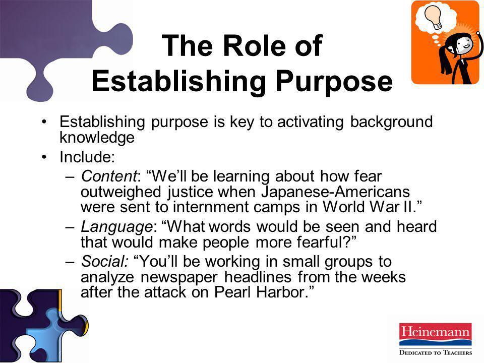 The Role of Establishing Purpose