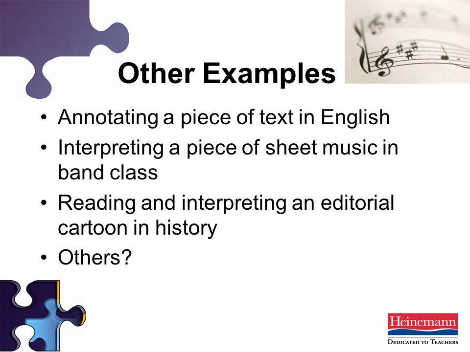 Other Examples Annotating a piece of text in English