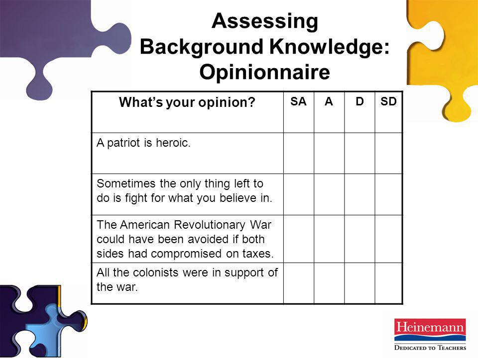 Assessing Background Knowledge: Opinionnaire