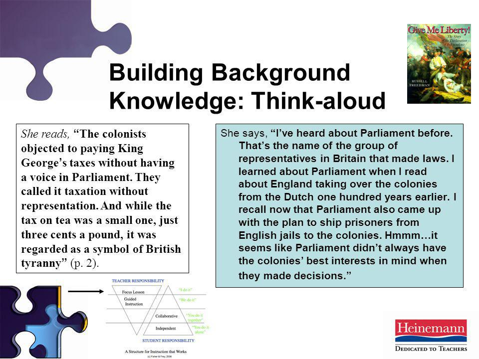 Building Background Knowledge: Think-aloud