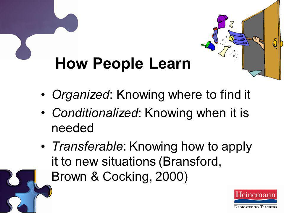 How People Learn Organized: Knowing where to find it