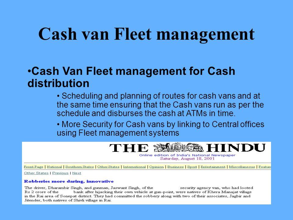 Cash van Fleet management
