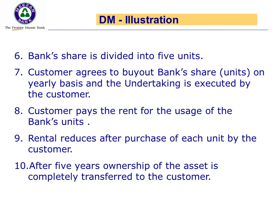 DM - Illustration Bank's share is divided into five units.