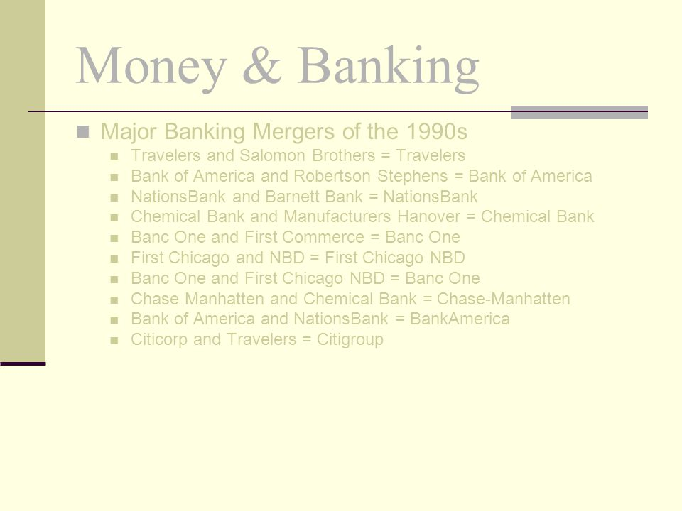 Money & Banking Major Banking Mergers of the 1990s