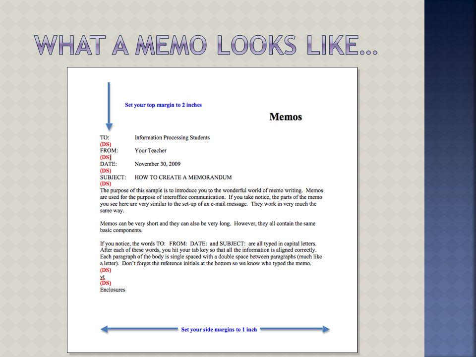 What a Memo looks like…