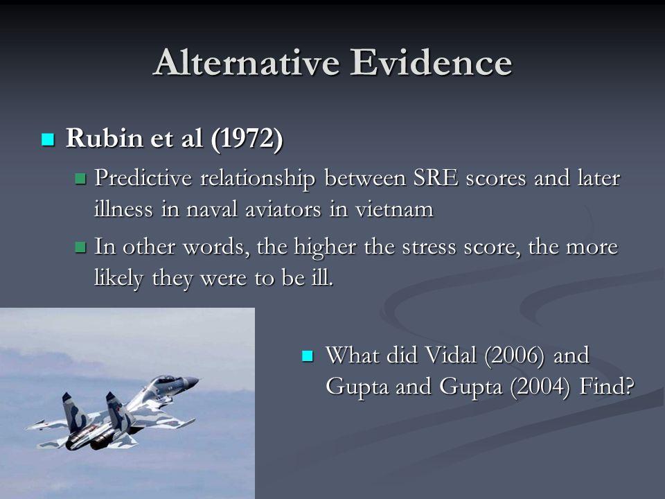 Alternative Evidence Rubin et al (1972)