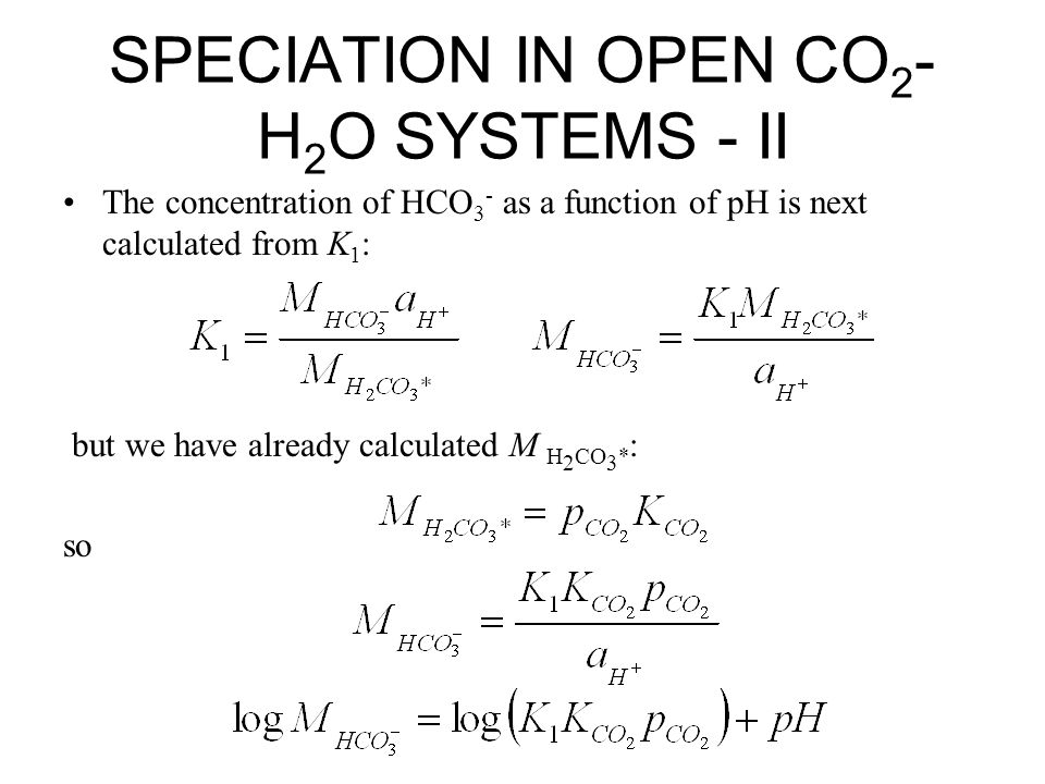 SPECIATION IN OPEN CO2-H2O SYSTEMS - II