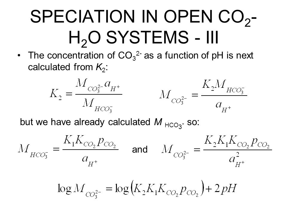 SPECIATION IN OPEN CO2-H2O SYSTEMS - III