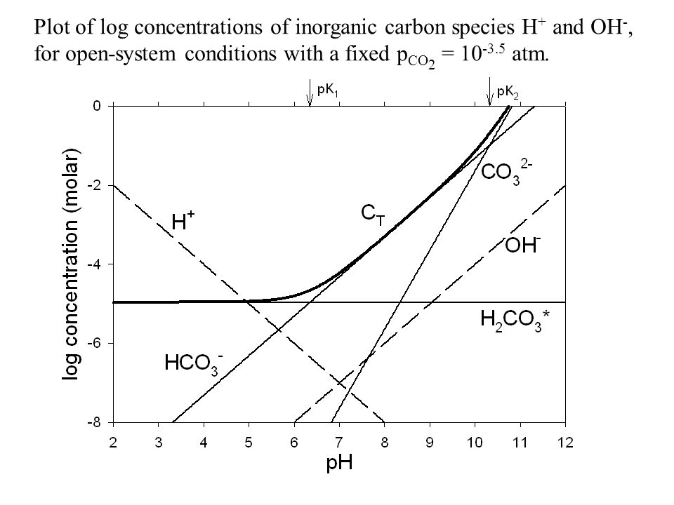 Plot of log concentrations of inorganic carbon species H+ and OH-, for open-system conditions with a fixed pCO2 = 10-3.5 atm.