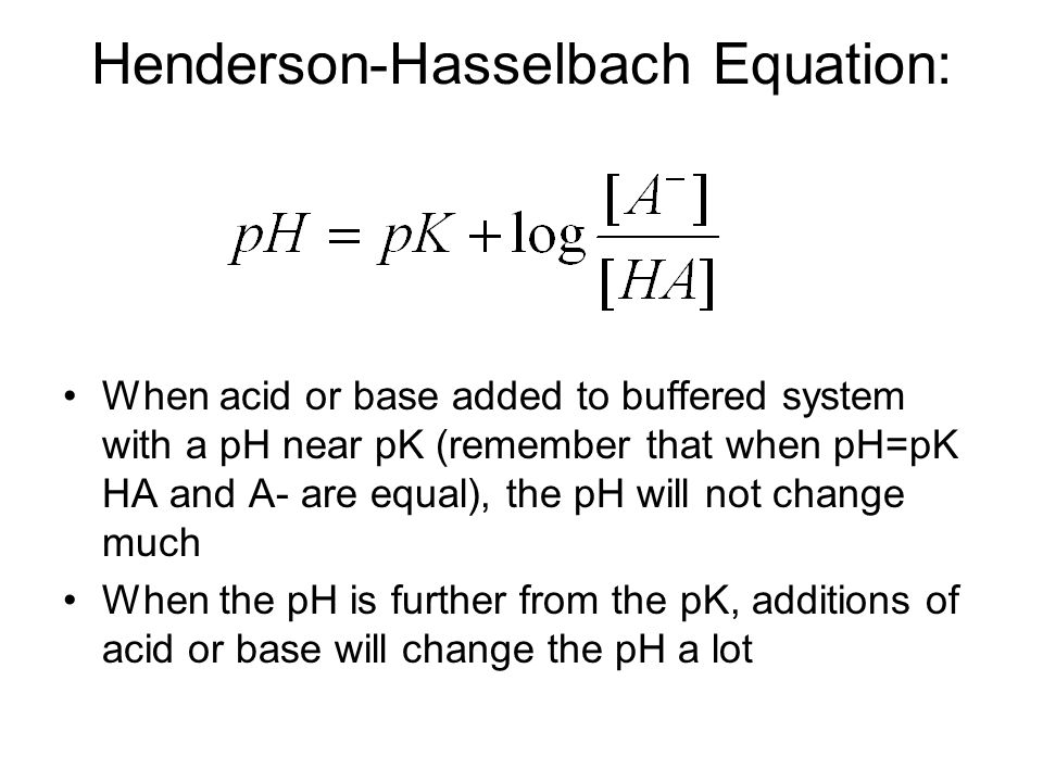 Henderson-Hasselbach Equation: