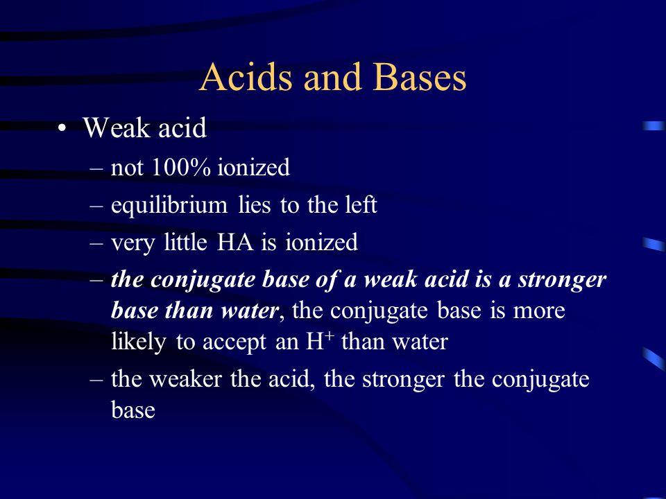 Acids and Bases Weak acid not 100% ionized