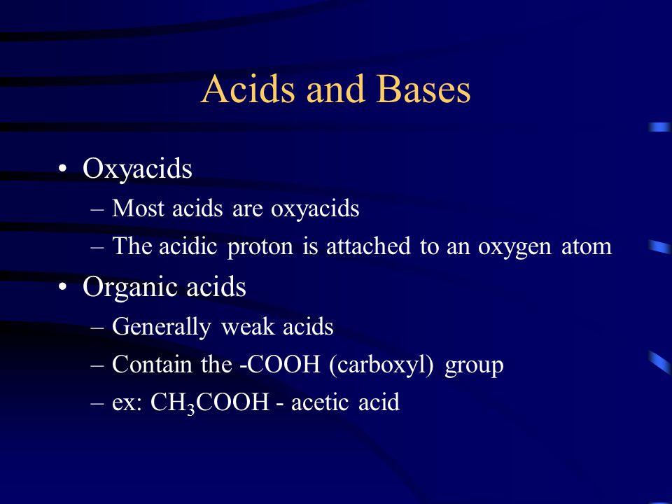 Acids and Bases Oxyacids Organic acids Most acids are oxyacids