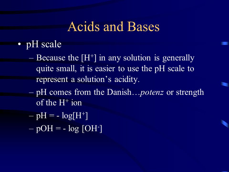 Acids and Bases pH scale