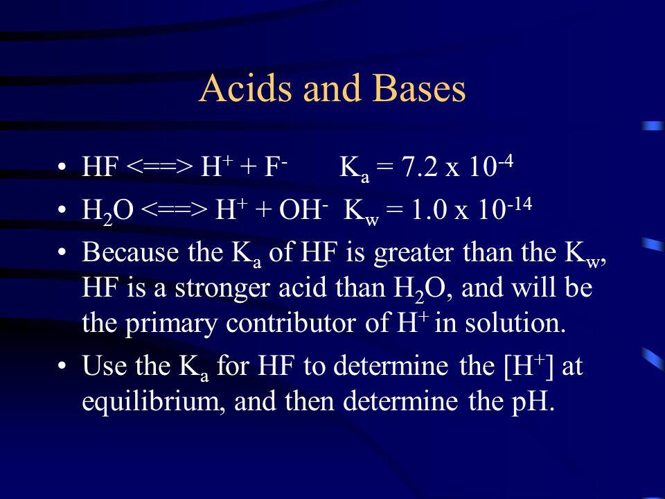 Acids and Bases HF <==> H+ + F- Ka = 7.2 x 10-4
